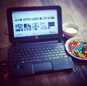 M&Ms and tea cup
